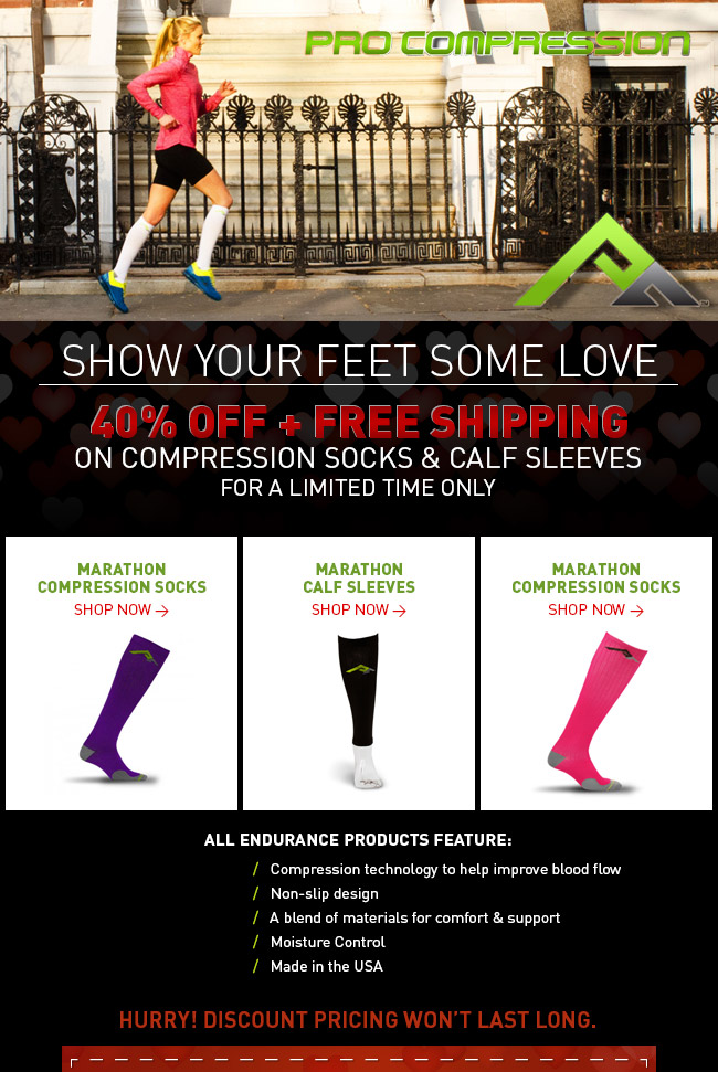 40% Off Compression Socks and Sleeves + Free Shipping - http://www.procompression.com/marathon-socks/