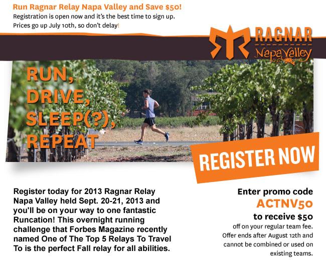 50 dollars off ragnar relay napa valley code actnv50 http www
